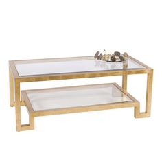 WINSTON G - Gold leaf two tier coffee table w. clear beveled glass.