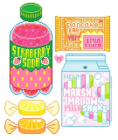 Milk Carton (from a different angle), plastic Soda Bottle, packaged breakfast (like Pop Tarts), and some citrus fruit candy (lemon and orange)