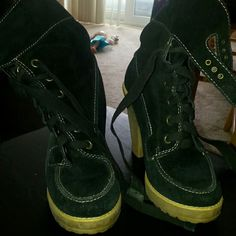 Blacks Steve Madden boots Black 2 inch heels. Lace up and buckle. Comfortable Steve Madden Shoes