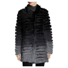 P. Luca Ombre Knit Rabbit Fur Jacket, Black Gray ($345) ❤ liked on Polyvore featuring outerwear, jackets, rabbit fur jacket, gray jacket, rabbit jacket, grey jacket and collarless jacket