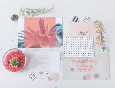 tropical california + palm springs inspired invitation