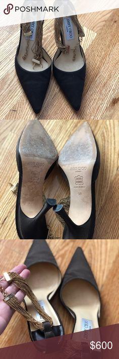 Jimmy Choo Heels With Gold Ankle Strap 3 inch heel Worn 3-4 times Jimmy Choo Shoes Heels