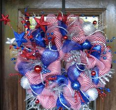 Deco Mesh PATRIOTIC FIREWORKS WREATH | Front Door Wreaths