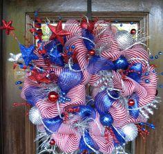Deco Mesh PATRIOTIC FIREWORKS WREATH   Front Door Wreaths