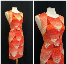 Vintage 1970's Dress 70's Orange White Gold Petal