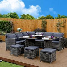 9 Seater Rattan Corner Garden Sofa U0026 Dining Set Furniture 2016 Black Brown  Dark MixedGrey (