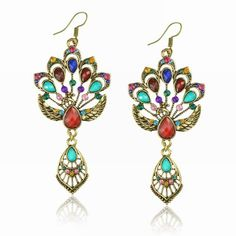 Amazon.com: Blue Vintage Copper Peacock Crystal Resin Eardrop Hook Dangle Earrings: Jewelry