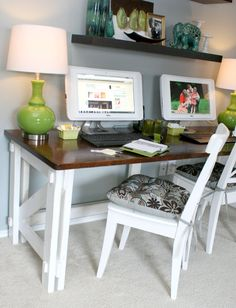 Remodelaholic | Computer Desk Reveal,For the plan to make click now; http://www.vickswoodworkingplans.com/