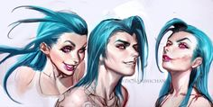 Jinx Sketches by sakimichan on @DeviantArt