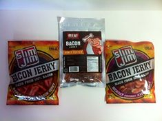 Meat ManiacSlim Jim Bacon Jerky 3pk Hickory Bacon and Maple Bacon 275oz Honey Pepper Bacon 2oz ** More info could be found at the image url.