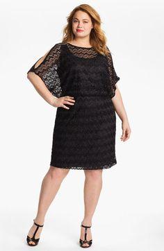 Xscape Metallic Lace Blouson Dress (Plus) available at #Nordstrom