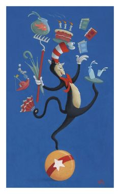 Dr Seuss' Cat in the Hat by Peter Emmerich (whom I also admire--note from Brian Sibley) Look at Me! Look at me now! by Peter Emmerich Art Graf, Dr Seuss Art, Famous Art Pieces, Dr Seuss Baby Shower, Disney Cartoons, In Kindergarten, Retro, Childrens Books, Fairy Tales