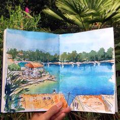 "84 Likes, 1 Comments - A Travel Diary (@_atraveldiary_) on Instagram: ""Greece  - @kamieshkova • • • • • • Repost from @kamieshkova - If you make a sketch of a place it…"""