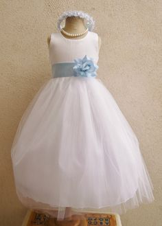 Flower Girl Dresses  WHITE with Blue Sky FD0RBP by NollaCollection