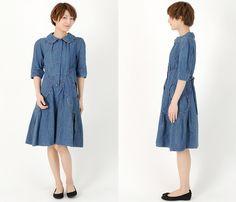 (4) Womens Peter Pan Collar Denim Dress - Tsumori Chisato Womens Denim Finds 2013 Spring Summer - Made in Denim Finds #MadeInDenim #DenimFinds & Trend Watch #DenimJeansTrendWatch