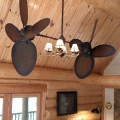 Twin Star III Ceiling Fan - Rustic Edition with Antler Light
