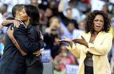 Barack Obama and Michelle Obama embrace as Oprah Winfrey campaigns with them…