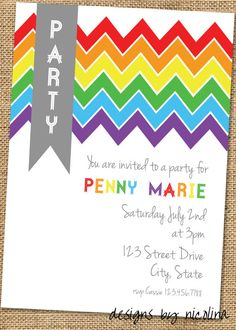 Kids Rainbow Party Chevron  PRINTABLE Party by designsbynicolina, $12.00