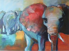 Olifanten, Acryl - Diana Mol