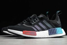 This offering of the adidas NMD features a Black knitted upper paired with matching tonal branding atop a White Boost midsole and Black rubber outsole. The highlight of this pair is a gradient across the EVA pods with the front features a Bright to Dark Red and the rear features Purple to Teal. Nmd R1, Adidas Nmd_r1, Adidas Sneakers, Shoes Sneakers, Branding, Womens Fashion Sneakers, Black Knit, Black Rubber, New Shoes