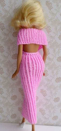 Strickanleitung - Elegant evening dress for small dolls