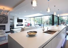We are a leading firm of residential architects specialising in designing contemporary new homes and period renovations in London, Surrey and the South East Open Plan Kitchen Dining Living, Open Plan Living, Kitchen Family Rooms, Living Room Kitchen, House Extension Plans, Rear Extension, Extension Ideas, Kitchen Diner Extension, Architects London