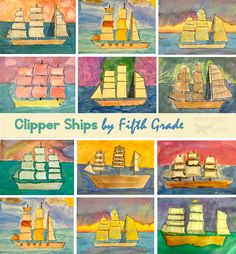 Clipper Ships Art Lesson Watercolor Clipper-Ships for and grades -by-Deep-Space-SparkleWatercolor Clipper-Ships for and grades -by-Deep-Space-Sparkle Art History Lessons, History For Kids, History Major, Deep Space Sparkle, Art Activities For Kids, Art For Kids, Colonial Art, Pirate Art, 6th Grade Art