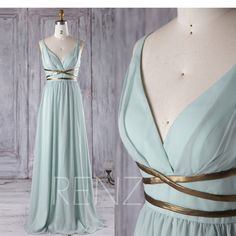 2017 Dusty Shale Chiffon Bridesmaid Dress, Deep V Neck Wedding Dress with Gold Belt, A Line Prom Dress, Long Evening Gown Floor Length(T171) by RenzRags on Etsy https://www.etsy.com/listing/490896363/2017-dusty-shale-chiffon-bridesmaid