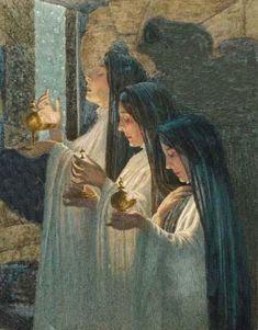 Carlos Schwabeカルロス・シュヴァーベ(1866ー1926)「The Three Wise Virgins(三人の賢い乙女)」(1907 象徴主義)