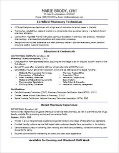 check out this sample resume for an entry level pharmacy technician