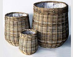 DOPLŇKY   Ratanový obal na květináč KUBU GREY střední   Ratanový a bambusový nábytek eshop