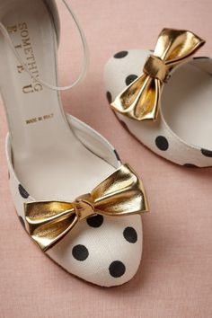 Black polka dots and Gold Bowtie  Ladies Shoes