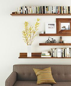 """Wall Shelves in Wood - Shelves & Ledges - Accessories - Room & Board  20 lbs  48""""  $169  walnut finish"""