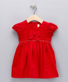 Take a look at this Red Smocked Corduroy Bow Dress - Infant by Fantaisie Kids on #zulily today!