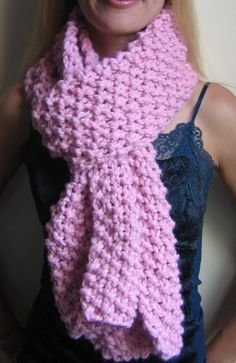 I Love Pink knit scarf by Happiknits on Etsy