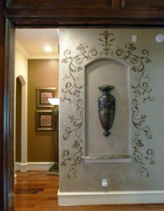 Custom Modello® Designs Stencil on Niche Surround Alcove Decor, Niche Decor, Wall Stencil Patterns, Damask Stencil, Niche Design, Design Design, Art Niche, Tuscany Decor, World Decor