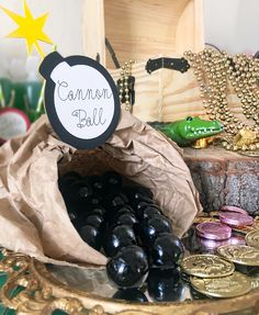 Cannon ball gumballs,Peter Pan, canon balls, Peter Pan, neverland, Peter Pan table ideas, Peter Pan candy table, Peter Pan party, neverland birthday, neverland baby shower,Captain Hook,pirate,pirate ship,pirates treasure