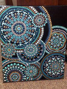 Ripple- hand painted dot mandala painting on boxed canvas Dot Art Painting, Mandala Painting, Stone Painting, Mandala Canvas, Mandala Art, Do It Yourself Einrichtung, Painted Rocks, Hand Painted, Mandala Rocks