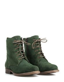 JJ Footwear Laced boots from suede in Green
