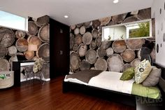 Wood Wall Mural for Bedroom