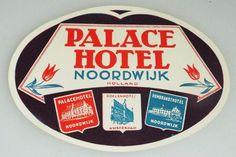 Palace Hotel  - Noordwijk - Holland - Vintage Hotel Luggage Label