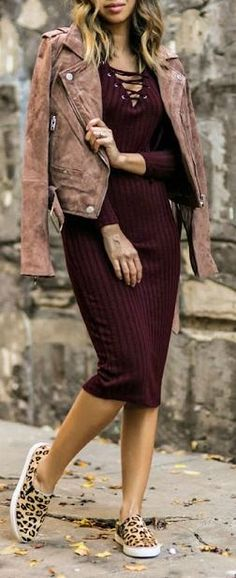 #fall #outfits / burgundy dress leather jacket