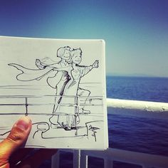 French illustrator Troqman uses pen and a pad of paper, creativity and talent overpaid for his illustrations that make a kind of interaction with the real-life environments. Moleskine, Titanic, Ei Nerd, Ben Heine, King Of The World, Doodle Sketch, Illustrations, French Art, Photography Portfolio