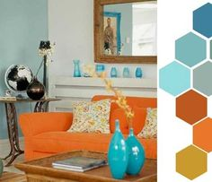 Blue Living Room on Orange Combination For Living Room Colouring   Living Room Design Idea