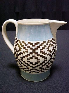 Mochaware Pitcher w/Checkered Decoration