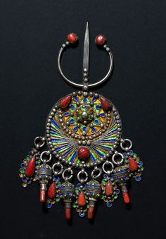 "Africa | ""Adwir"". Silver, coral and enamel.  Beni Yenni, Great Kabylie, Algeria 