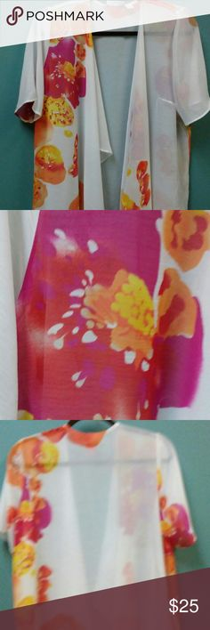 susan Graver Kimono. BOGO OFFER A lightweight sheer material. With Poppy Floral  Design? Split Waterfall Opening . BOGO will received the other one listed. With this  listing. Susan Graver Accessories Scarves & Wraps