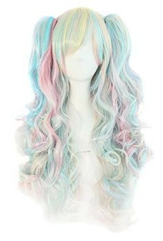 Multi-color Lolita Long Curly Clip on Ponytails Cosplay Wig (Pink/ Blue/ Blonde) by MapofBeauty