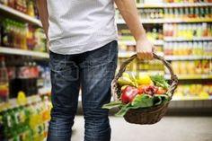 man shopping healthy food: Basket filled healthy food