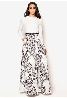 Silhouette Print Fit And Flare Dress